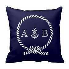 Navy Blue Nautical Rope and Anchor Monogram Throw Pillow Cover Home Decor Gift