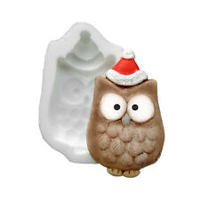 Silicone Mould - Xmas Owl - Flat Backed Mini Sculpture - Food Safe