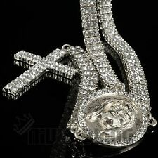14k White Gold 2 Row CZ ICED OUT ROSARY Jesus Cross Charm Necklace Chain Hip Hop