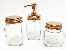 NEW PARADIGM 3 PC SET CLEAR GLASS+ROSE GOLD,COPPER SOAP DISPENSER+JAR+TUMBLER