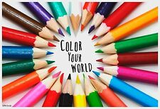 "13""×19"" Inspirational Poster COLOR YOUR WORLD Motivational Multicultural Peace"
