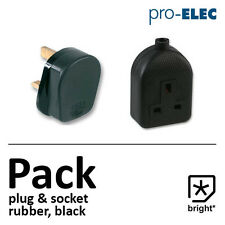 13 Amp Rubber Plug & Socket 13A Heavy Duty Mains Electrical 3pin Black -