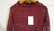 £210 ISABEL MARANT Top With Holes. Burgundy, Wine Red. Size 1 (8uk 36eur) New