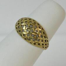 Pierced Bombe Design Solid 9ct Gold Ladies Ring F0654