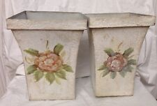 2 SHABBY Romantic CHIC Tin Planters/Pots French Cottage Style Cream w/Flowers