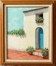 THE COURTYARD- LARGE FRAMED ORIGINAL OIL PAINTING by A.PRESS