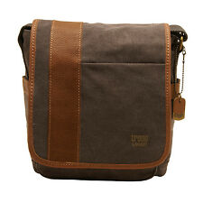 Troop London - Black Canvas Heritage Messenger Bag with Leather Trim