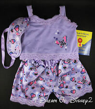 BUILD-A-BEAR PURPLE BUTTERFLY SATIN PAJAMAS w EYE MASK TEDDY CLOTHES NEW