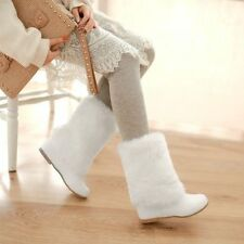 Womens Furry Warm Pull On Snow Flat Cute Fur Boots Low Wedge Heels Shoes US 8