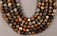 "LOVELY SPOTTED WOOD OPAL 6MM ROUND BEADS 15.5"" STRAND DENDRITIC AGATE"