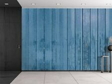 Blue Wooden Fence Panels - Wall Mural, Removable Sticker, Home Decor - 100x144