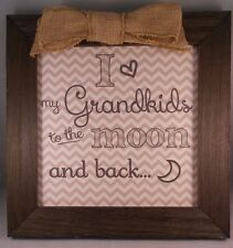 """I Love My Grandkids To The Moon And Back - 10.5"""" x 10.5"""" Frame w/ Burlap Bow"""