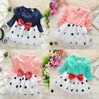 New Polka Dot Bowknot Baby Girls Long Sleeve Princess Party Dress Skirt Age 1-5Y