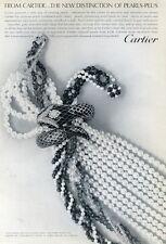 1965 Cartier Pearls and Semi-Precious Stone Brooch  PRINT AD