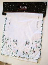 WHITE RED GREEN HOLLY & BERRIES  CHRISTMAS TABLE RUNNER HOLIDAY DECORATION
