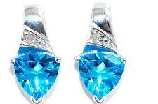 3 Ct Swiss Blue Topaz & Diamond Trillion Stud Earrings .925 Sterling Silver