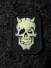 "MIL SPEC MONKEY DEVIL SKULL GLOW 2"" X 1.5"" PVC rubber MORALE PATCH"