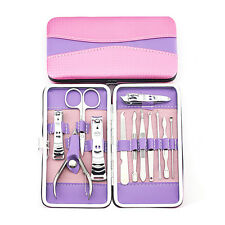 12Pcs Pedicure Manicure Set Nail Cuticle Clippers Cleaner Grooming Kit Case Tool
