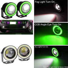Car SUV Angel Eye Green COB Halo Ring Projector LED DRL Lamp Daytime Fog Lights
