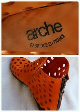 Arche France Art to Wear Burnt Orange Paprika Dato Cutout Ankle Boots 37 US 6
