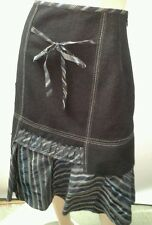 ANA NONZA Size M 12 Black Wool Blend Skirt Fabric Tie Bow QUIRKY NWOT RRP $325
