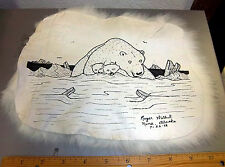 Rabbit Fur Artwork by Nome Alaska Artist Roger Walluk 8x9 pen & ink polar bear