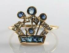 LOVELY 9CT GOLD BLUE SAPPHIRE & DIAMOND ART DECO INS CROWN RING FREE RESIZE