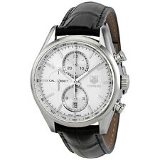 Tag Heuer Carrera Chronograph Silver Dial Automatic Leather Mens Watch