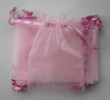 10 large pink organza gift pouches/bags with drawstring