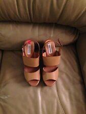 Steve Madden Leather Platform Wedge Sandals Size 10