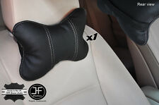 1X WHITE  STITCH BLACK LEATHER LUXURY HEADREST PILLOW NECK REST CUSHION PAD