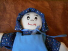 """9"""" Handmade Stuffed Vintage Doll in Prairie Style Attire w Embroidered Face"""