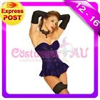 Ladies purple satin Corset G String Lace Up Boned Bustier Dress Costume