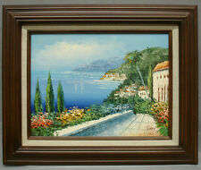 Oil Painting in Wood Frame Mediterranean Flowers Road to House Palm Trees 12x16""
