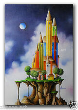 ORIGINAL Oil PAINTING Fantasy Art dreamy surreal city full moon cloudy landscape