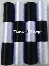 12 x Black & White Large Art Silk Pure Rayon Machine Embroidery Thread Spools