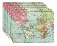 """6 X WORLD MAP COUNTRIES BLUE PINK GREEN LAMINATED CORK PLACEMATS H9"""" X W12"""""""