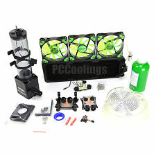 Liquid Cooling 360 Radiator Kit Pump 220mm Reservoir CPU GPU HeatSink Green #2