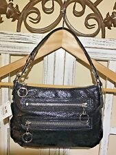 NWT Coach Poppy Patent Top Handle Pouch Handbag In Silver/Licorice 44058 SV/17