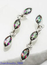 """Gorgeous Mystic Fire Topaz - 925 sterling silver stamped earrings 1 3/4"""" long"""