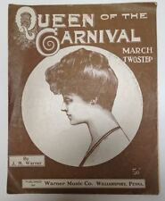 Queen of the Carnival March beauty girl JM Warner Williamsport PA 1912 Rag era
