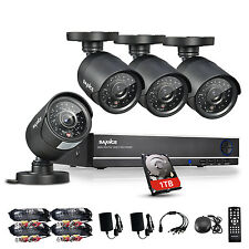 SANNCE 4CH Full 720P DVR Video IR HD CCTV Security Cameras System 1TB Hard Drive