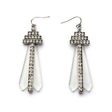 Hot Crystaline Drop Earring Pyramid Motif Translucent Chandelier Antique Silver