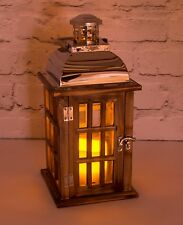 Lantern -Flameless Flickering Candles Chrome Metal, Wood And Glass With Handle