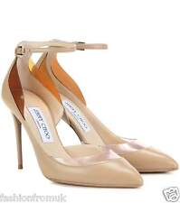 JIMMY CHOO LUC 100 Nude Leather PVC pumps 37