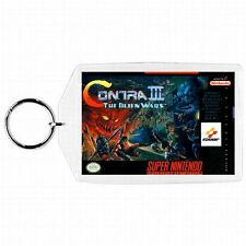 Super Nintendo Snes CONTRA III ALIEN WARS Box Cover Game Cartridge Keychain New