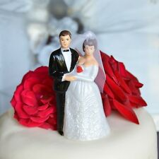 Vintage Bride and Groom Cake Topper Short Brown Hair and Veil