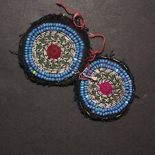 Matched PAIR BellyDance GUL Kuchi Tribal BEADED Medallions (XS) 838d3