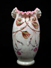 Antique Victorian Bohemian Enameled Pink Floral Art Glass Vase Harrach Loetz era