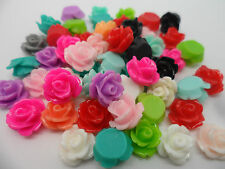 50 x Large Resin Flowers (roses) Cabochons,14x8mm flat back for jewellery making